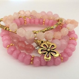 Multi Pinks Beaded Bracelet, Shades of Pink Strands