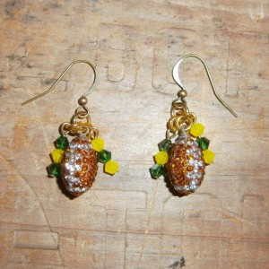 Rhinestone and crystal Green Bay Packer earrings