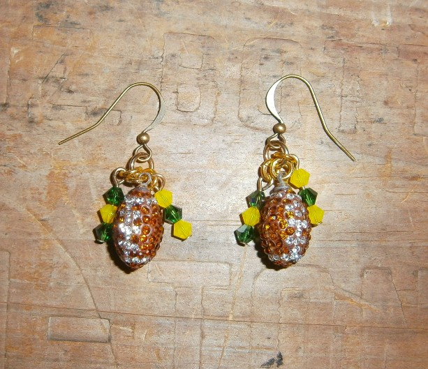 Rhinestone and crystal Green Bay Packer earrings