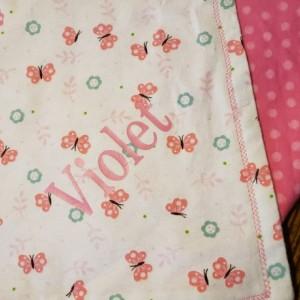 Handmade Girls Naptime Blanket. Personalized