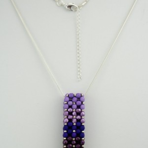Purple Ombre' Czech Fire Polished Vertical Slide Bar Pendant necklace