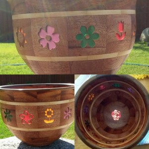 Wooden Segmented Flower Bowl