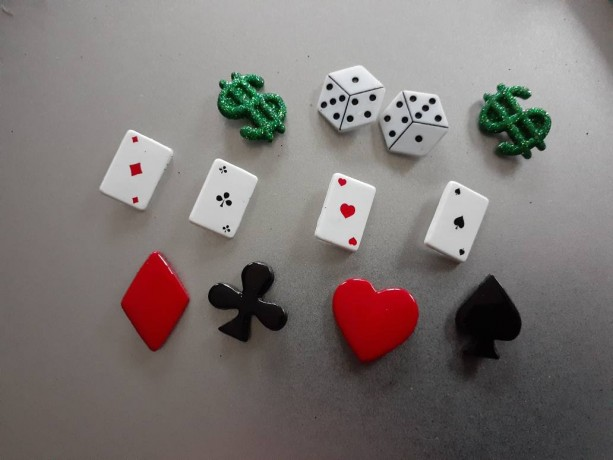 Magnets, 12 Strong Refrigerator Magnets, Cubicle Decor, Locker Magnets, Office Supply,Poker,Gamble,Card Game