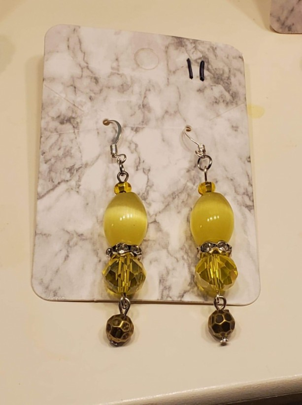 Yellow and brown gem earrings