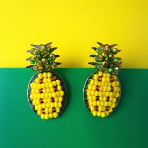 Pineapple Yellow and green Earrings in Bronze.
