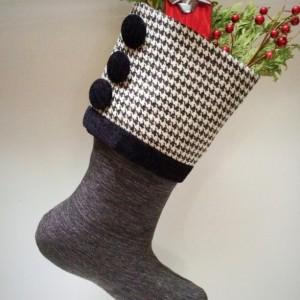 Black and White Christmas Stocking, White Stocking, Black Christmas Stocking, Gray Christmas Stocking