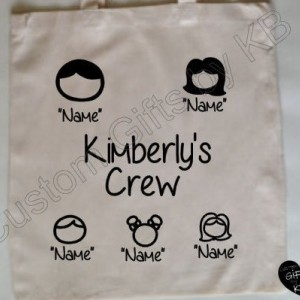 Custom family Tote Bag, canvas Tote Bag, Birthday Gift, Cute family custom tote bag, Customized Canvas Tote Bag,