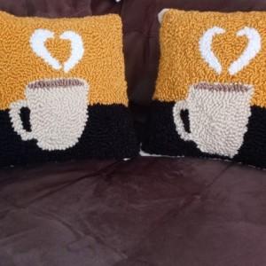Latte throw pillows