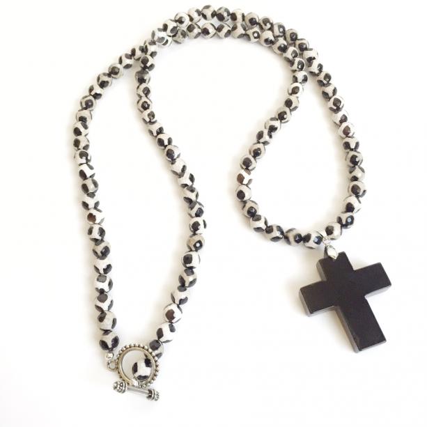 Black Agate Cross Necklace
