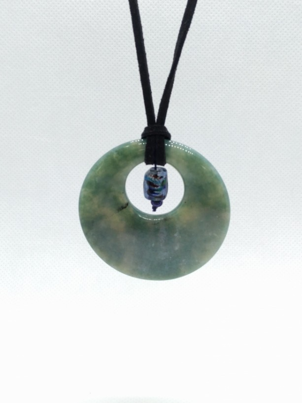 Jade-style Marbled Pendant with Small Iridescent Blue Glass Drop Bead on Black Leather Cord by Cumulus Luci
