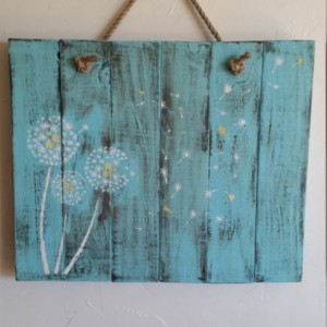Rustic, handmade and hand painted dandelion wall hanging