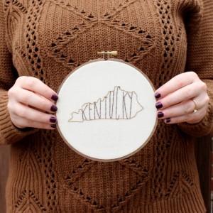 Kentucky State Embroidery Hoop Art