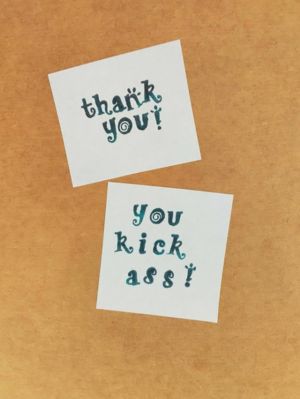 "Thank you card, ""Thank you, you kick ass!"""