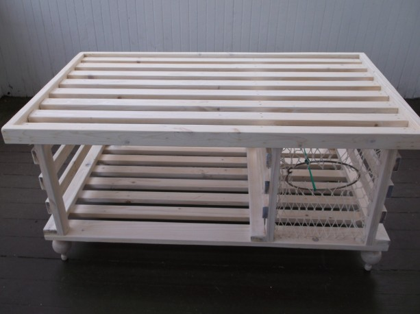 Handmade Wooden Lobster Trap Coffee Table White Finish Free Shipping