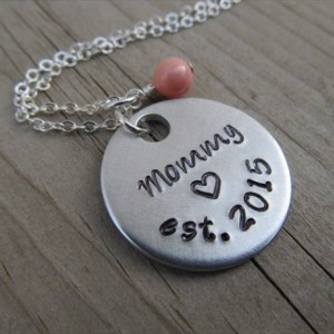"Mother's Necklace- Hand-stamped ""Mommy est. (year of choice)"" with a stamped heart and an accent bead in your choice of colors"