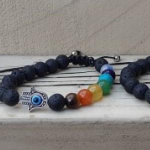 Natural Lava Rock & 7 Stone Chakra Bracelet | Adjustable Chakra Bracelet With Hamsa Hand and Evil Eye | Chakra Energy and Healing Bracelet