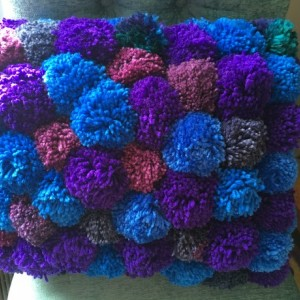 Blue and Purple Pom Pom Pillow , large