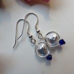 Snow Drop Earrings with Swarovski cobalt