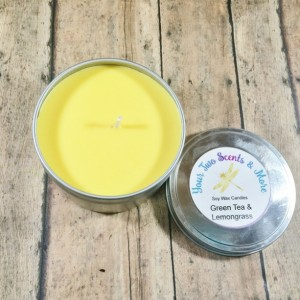 Green Tea & Lemongrass Vegan Candle, Soy Wax Candle, Natural Soy Candle, Eco Friendly, Scented Soy Candle, Handmade Candle, 8 Oz Candle Tin