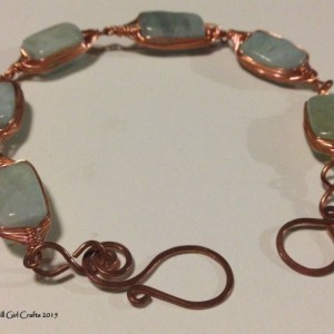 Wire wrapped jewelry, wire wrapped copper necklace , handmade jewelry, aquamarine stone bead, handmade clasp
