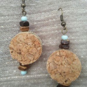 Wine Cork, Wooden bead & Light Aqua Earrings