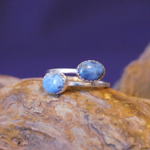 Sterling Silver and Denim Lapis Adjustable Ring