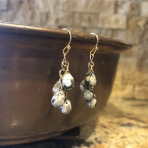 Green ocean jasper dangle earrings