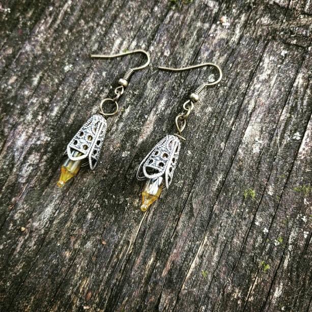 Neo-Victorian Repurposed Handmade Ooak Lace Amber & Silver Filigree Lightbulb Earrings