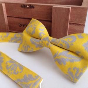 Yellow Gray Bow Tie - Wedding Groom Bow Tie - Adult Bow Tie - Baby Bow Tie - Pet Bow Tie - Kids Bow Tie - Daper Bow Tie