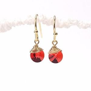 Red Ruby Swarovski Disc Earrings, Red Swarovski Disc Earrings