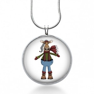 Winter Moose Necklace - Animal Jewelry - Moose Pendant - Holiday