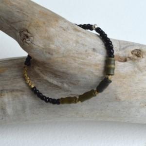 African trade bead bracelet, Mens bracelet, Trade bead bracelet, Green bracelet, Seed beads, Men's  jewelry, African jewelry