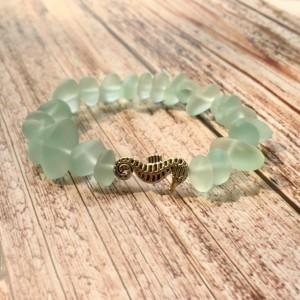 Seahorse & Sea Glass Bracelet