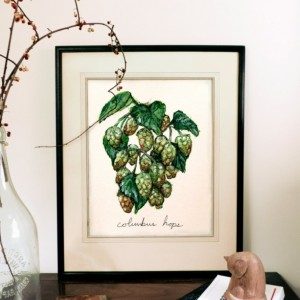 8x10 Michigan Hops Print, Beer Art, Plant Illustration, Kitchen Decor, Hops Painting, Art Print, Food Illustration Print, Nature Painting, Gifts for Dad