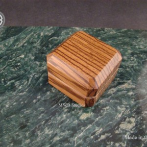 Engagement Ring Box of Solid Zebra Wood.  Free Shipping and Engraving.  RB48