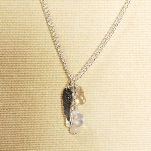Silver Angel Wing Charm Necklace on 925 Silver Chain