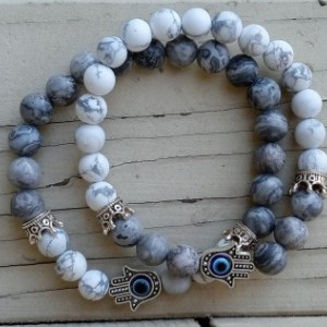 Matching Couple's Crowns and Hamsa Hand Protection Bracelet Set