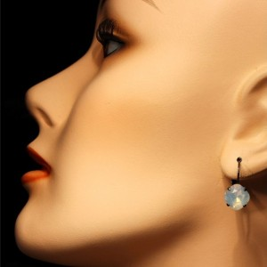 White Opal Swarovski Crystal Leverback Drop Earrings