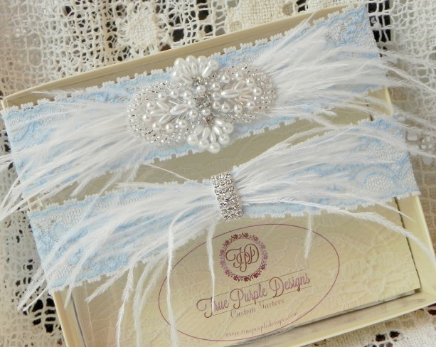 Blue Lace Garter Set with Rhinestones & Ostrich Feathers