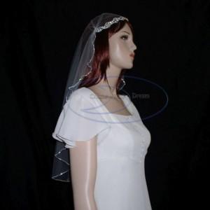 Juliet Cap Veil rhinestone edged veil with rhinestone appliqued faux cap - elbow length