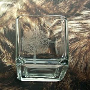Engraved Glass Dandelion Votive