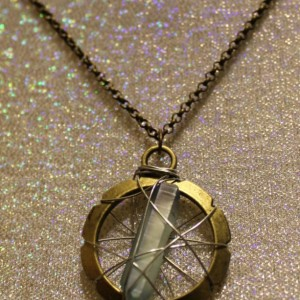 Cage Pendants with Swarovski crystals, Selenite, Tibetan quartz, or Aqua Aura quartz crystal