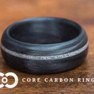 Men's or Women's 100% Carbon Fiber Ring with diamond inlay- Handcrafted -Lightweight - Traditional Rounded Band - Custom Band widths