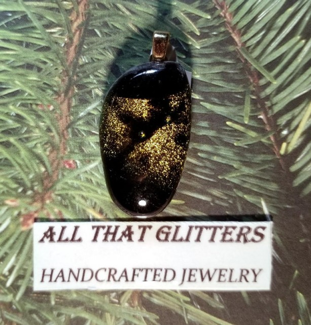 Black Dichroic pendant with gold inlay and gold filled finding. Works with a choker or chain necklace. Great gift idea for any occasion.