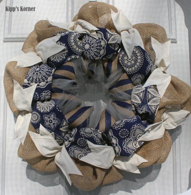 Spring Wreath, Burlap Wreath, Navy Blue Wreath, Ribbon Wreath, Blue Wreath, Fabric Wreath, Batik Fabric, Door Decor