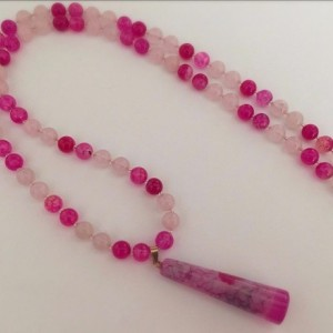 Brilliant Pink Dragon Veins Beaded Necklace