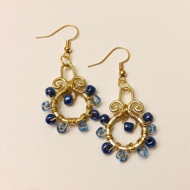 Gold and Blue Wire Wrapped Earrings