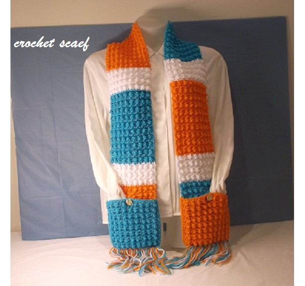 Crochet Miami Dolphins Scarf With Pockets On Aftcra Aftcra