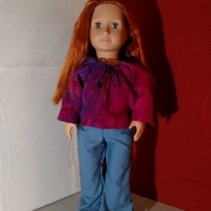 "Hippie Style, hand sewn 18"" doll (AG, OG, etc.) crinkle cotton top and bell bottoms - Heirloom Quality Vintage Style"