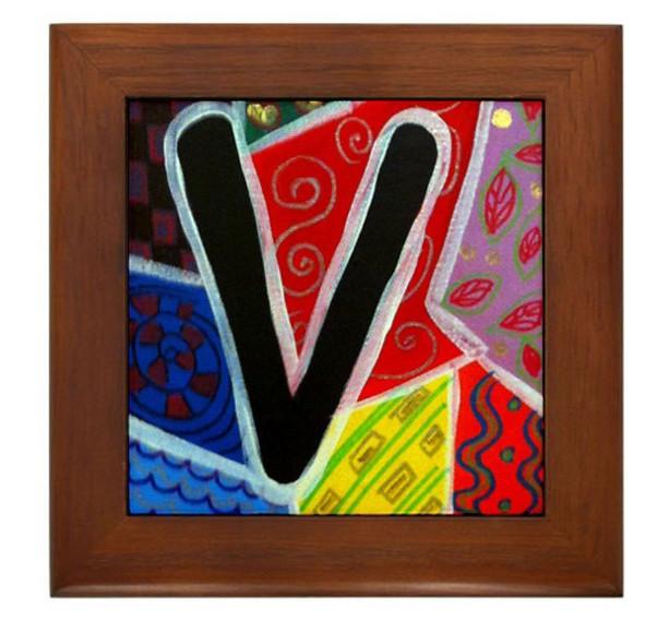 """Folk Art - Letter """"V"""" - FRAMED TILE By Artist A.V.Aposte"""